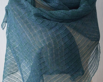 Natural Linen Shawl Summer Knitted Scarf Wrap in Teal Green Blue