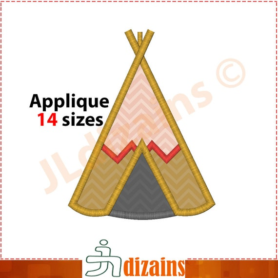 Teepee Applique Design Teepee Embroidery Design Tipi Tent Applique