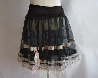 Vintage 50s Black Petticoat / NYLON  Double Layer Crinoline / Elastic Stretch Waist 26 to 39 inch Size Small Medium / FRANCINE made USA