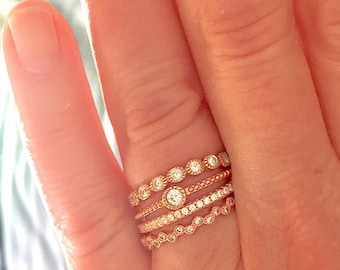 Skinny 925 Sterling Silver Bezel Set Cubic Zirconia CZ Stacking Eternity Ring 1cgPrk