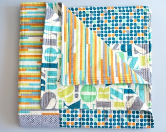 Modern baby quilt, Baby quilt, Handmade quilt, Gender-neutral, Modern fabric, Just My Type, Letterpress, Retro, Multi-color
