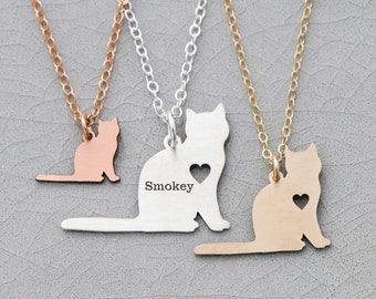 Cat Necklace Kitty Necklace • Kitten Charm Necklace Sterling Silver • Cat Pendant Animal Charm Cat Gift Memorial • Cat Lover Present