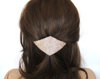 Crystal Rhombus Square Diamond Shape Large Hair Accessory Jewelry Barrette Clip Gold Tone Clear