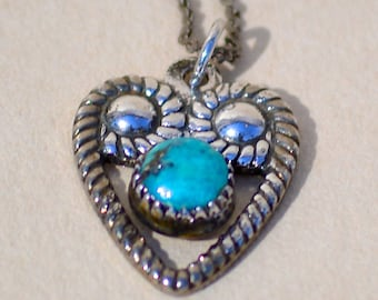 Vintage Tiny Sterling Fred Harvey Era Turquoise Heart Necklace
