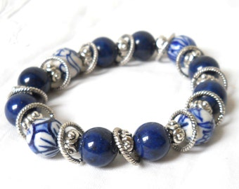delft blue style bracelet beaded bracelet delft blue jewelry blue bracelet blue and white delft jewelry delft blue jewelry  M