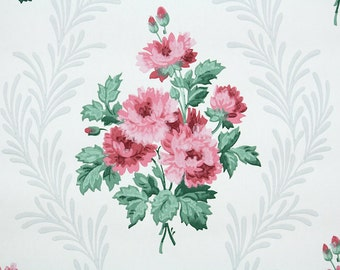 1940s Vintage Wallpaper by the Yard - Floral Vintage Wallpaper Pink Rose Bouquets