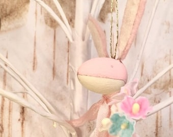 Easter ornament easter bunny spring decor pastel pink anthropomorphic bunny rabbit vintage retro inspired art doll flowers