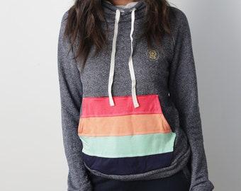 yoga hoodie, yoga sweatshirt, rainbow hoodie, rainbow sweatshirt, kangaroo hoodie, indigo hoodie, blue hoodie, floral hoodie, tracksuit