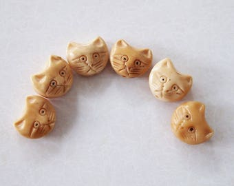1 Bone Hand Carved Cat Head Bead Or Charm Antique Colour Size 15 x 17mm