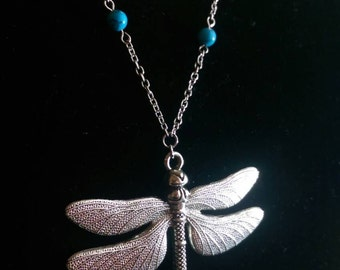 Large Dragonfly Pendant with Hand Beaded Natural Turquoise Chain