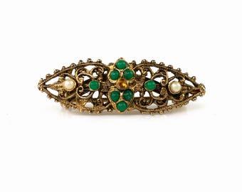 Vintage Victorian Revival Bar Brooch | Dainty Gold Tone Filigree & Faux Pearls