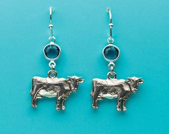 Cow Earrings, Blue Zircon Crystal Earrings, Farm Animal Earrings, Dangle Earrings, Gifts for Her, 84
