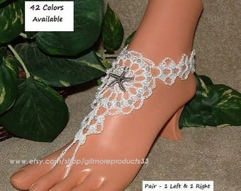Barefoot Sandals CROCHET Barefoot Sandals WEDDING Hippie Clothes Beach Wedding Footless Lace Shoes Foot Chain Jewelry