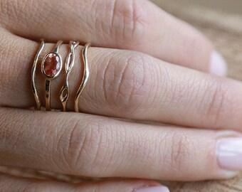 14k Sunstone Explorer Set   4 Ring Set   14k Gold Ring Set    Nature Inspired Rings