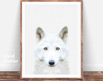 White Wolf Print, Wolf Poster, Woodlands Animal, Forest Animal Wall Art, Nursery Art Print, Forest Animal Printable, Woodland Nursery, Gift