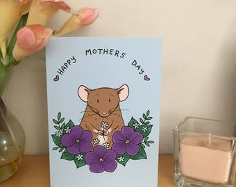 Glücklich Muttertag Ratte Grußkarte, A6 Größe, mit weißem Umschlag, niedliche Ratte Karte, Ratte Mama Mama leer