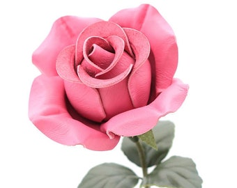 Pink leather rose leather flower third anniversary wedding gift long stem flower 3rd anniversary leather anniversary bouquet