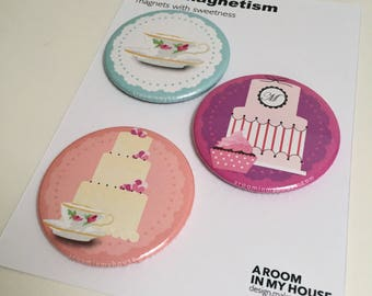 MAGNET SET the tea and cake selection (bulk buy x10)