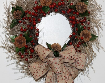 Red Berries & Pinecones Twig Christmas Wreath, Rustic Christmas Wreath, Small Christmas Door Wreath, Apartment Size Holiday Wreath,