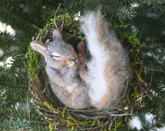 Natural Spring Twig Nest baby Squirrel One of a Kind Alpaca Needle felted Sculpture by Stevi T.