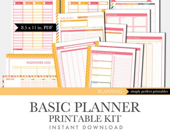 Printable Calendar Planner Set - Basic Kit - Perpetual Calendar - Pink and Orange
