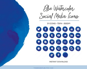 Blue Watercolor Social Media Icons Set - 32 Icons - 75px - transparent PNG - Instant Download - Blog Kit - Watercolor Branding