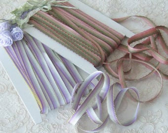 """Rayon Ombre Ribbon with One Picot Edge - Rose to Green or White to Violet - 3/8"""" Wide - Sold by the Yard - Crafts, Ribbonwork, Sewing"""
