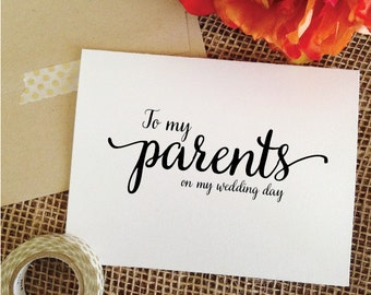 To my Parents on my wedding day Wedding Card for parent wedding day card to parents wedding gifts for parents card Wedding Gift Parents