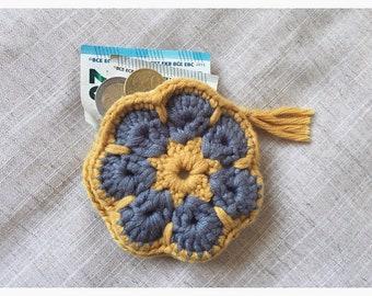 Crochet flower coin purse / wallet yellow & grey. Vegan friendly