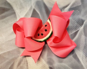 "5"" double stack hot pink bow with watermelon clay center"