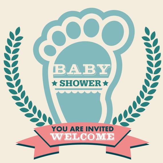 Items Similar To Baby Shower Invitation Logo Design Vintage