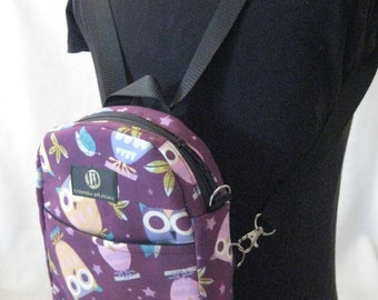 Small Backpack, Purple, Purple Owls, Backpack converts to CrossOver for Girls, Girls Backpack, Owl Crossbody