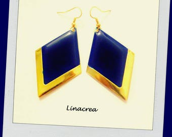 Argyle blue nights and gold enamelled earrings