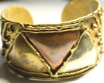 Handmade Vintage Brass Bangle Bracelet