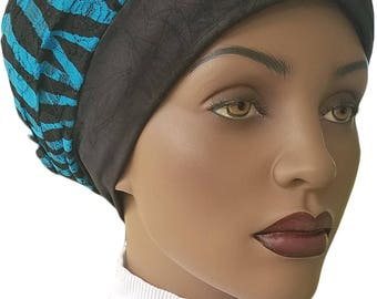 Teal Black Huggee Locks™ Beanie Distressed Jersey Knit Animal Print Lined Beanie Cap Hat Tam Slouchy Hat Rasta Rastafari Dreadie Handmade