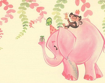 Baby Girl Party Invitation Set of 12, Pink Elephant, Monkey, Linen Card Stock by MissHollyLu