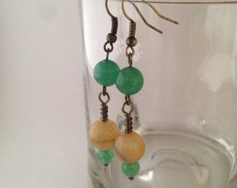 Agate and aventurine wire wrapped dangle earrings