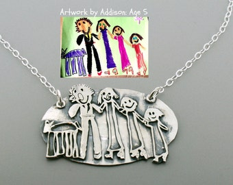 Unique Mothers Day Gift for Mom - Kids Art Necklace- Child Artwork Jewelry  - Childrens Drawing Necklace - Kids Illustration