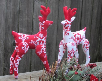 Christmas Reindeer softie toy plushie stuffed toy Nordic Reindeer Scandinavian ornament red white Christmas decoration gift for children