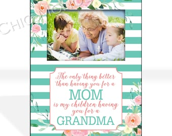 Gift From Daughter Personalized Gift for Mom Grandma Custom Photo Frame Grandmother Mothers Day Personalized Frame Floral Stripes