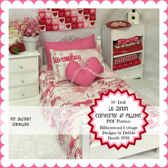 Sewing PatternAmerican Girl Doll Le Jardin Comforter and Pillows  PDF instant download pattern