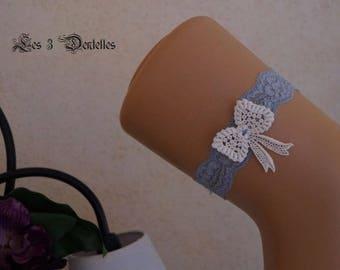 Grey and ivory lace wedding garter * bow lace * custom