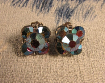Vintage iridescent Aurora Borealis-coated faceted glass clip-on earrings