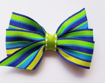Striped Hair Bow Blue Lime Green and Yellow Green/ hair clip/girl/baby girl/hair accessories/girls hair bow