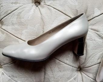 vintage pearl salvatore ferragamo block heels
