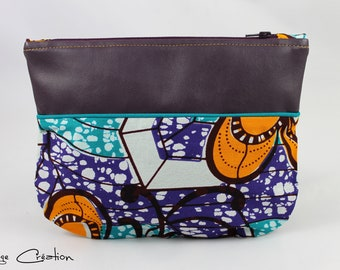 Pouch / clutch in faux leather and wax