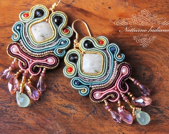 soutache earrings with aquamarine and freshwater pearls