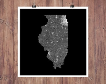 Illinois Map Art Map of Illinois Print Illinois Gift Illinois Decor Illinois Art Illinois State Chicago Wall Art Chicago Map Print Poster