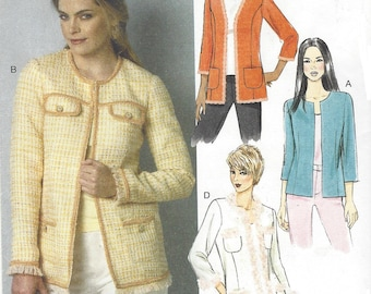 Womens Open Front Designer Style Jackets Trim Variations OOP Butterick Sewing Pattern B6062 Size 6 8 10 12 14 Bust 30 1/2 to 36 UnCut