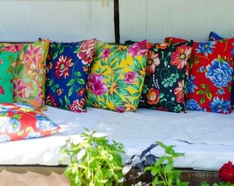 Brazilian Chita Pillow Cover   20x20 Pillow   Floral Pillow   Red Pillow   Green Pillow   Boho Pillow   Rustic Pillow   Decorative Pillow